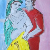 Picasso originally painted his Lovers so that the man was looking at the woman, but the woman was not looking back at the man. In my interpretation, I represented the female as strong and gazing back