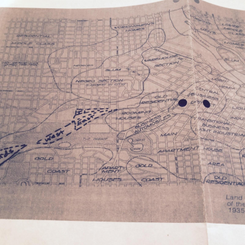 "Figure 1: 1931 City Planning Map. It labels a main North Minneapolis neighborhood as a future ""slum."""