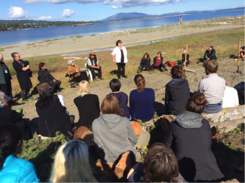 Elder Belinda Claxton shares Tsawout traditional knowledge of place on TIXEN spit during the Elders' Voices Summit (photo – Iain MacKinnon)