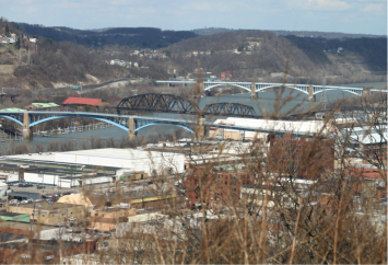 Figure 2. The Allegheny River near Pittsburgh, PA, one of two rivers that defines the city, enables water-based transportation of goods, and provides drinking water for most of the city's residents. Photo taken by a Chatham University student.