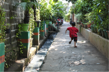 Figure 3. Green infrastructure and conveyance system in Kampung Kalibata. Photo by US student.