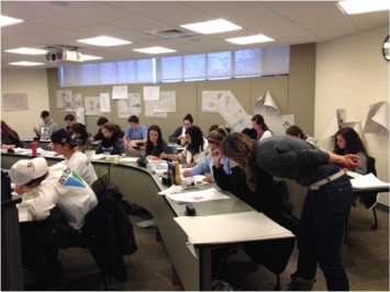 Figure 3: Our students participating in the more detailed drawing exercises within the botanical art workshop in class (Photo Credit: VL Rodgers).