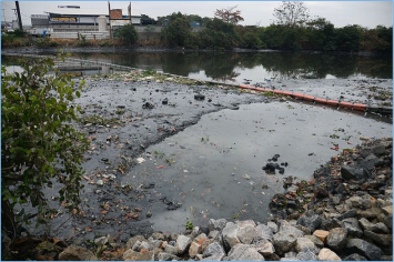 "Figure 2: Eco-barriers being used to stop trash from entering Guanabara Bay. From ""Rio de Janeiro Eco-Barriers Installed in the River Meriti,"" by Tomaz Silva, 2016 (https://commons.wikimedia.org/wiki/File:Ecobarreira_no_Rio_Meriti_01.jpg). In the public domain."