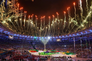 "Figure 3: Scenes from the closing ceremonies at the Games. From ""Terminam os Jogos Olímpicos Rio 2016,"" by Agência Brasil Fotografias, 2016 (https://commons.wikimedia.org/wiki/File:Terminam_os_Jogos_Ol%C3%ADmpicos_Rio_2016_(29040726262).jpg). In the public domain."