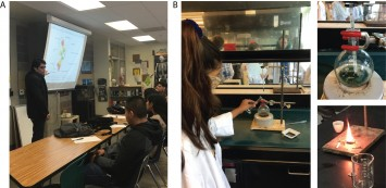 A) PCC-led student discussion about Planetary Boundaries, renewable energy, climate change, and environmental issues related to urban Los Angeles; B) Student setting up algae biodiesel reaction and measuring its energy density.