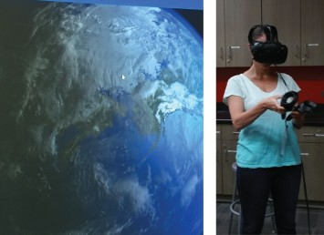 Technology is a tool that can be used to inspire imagination and creativity, as well as visualize some of the Planetary Boundaries of Earth. Shown here is the use of virtual reality to visualize the Earth at the Girls STEAM Academy at PCC.