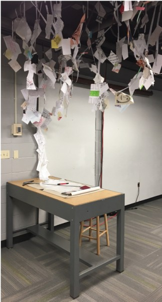 Figure 4: Studio desk at exhibit entry. Source: Author, 2016