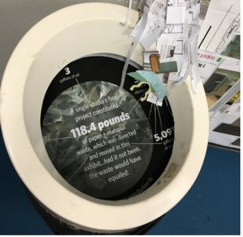 Figure 6: Detail image of trashcan and infographic. Source: Author, 2016