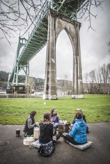 Tea conversation under St. Johns Bridge Portland OR