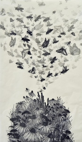 Pollinators!  linocut